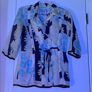 vintage Johnny Silk Top Double Button Front